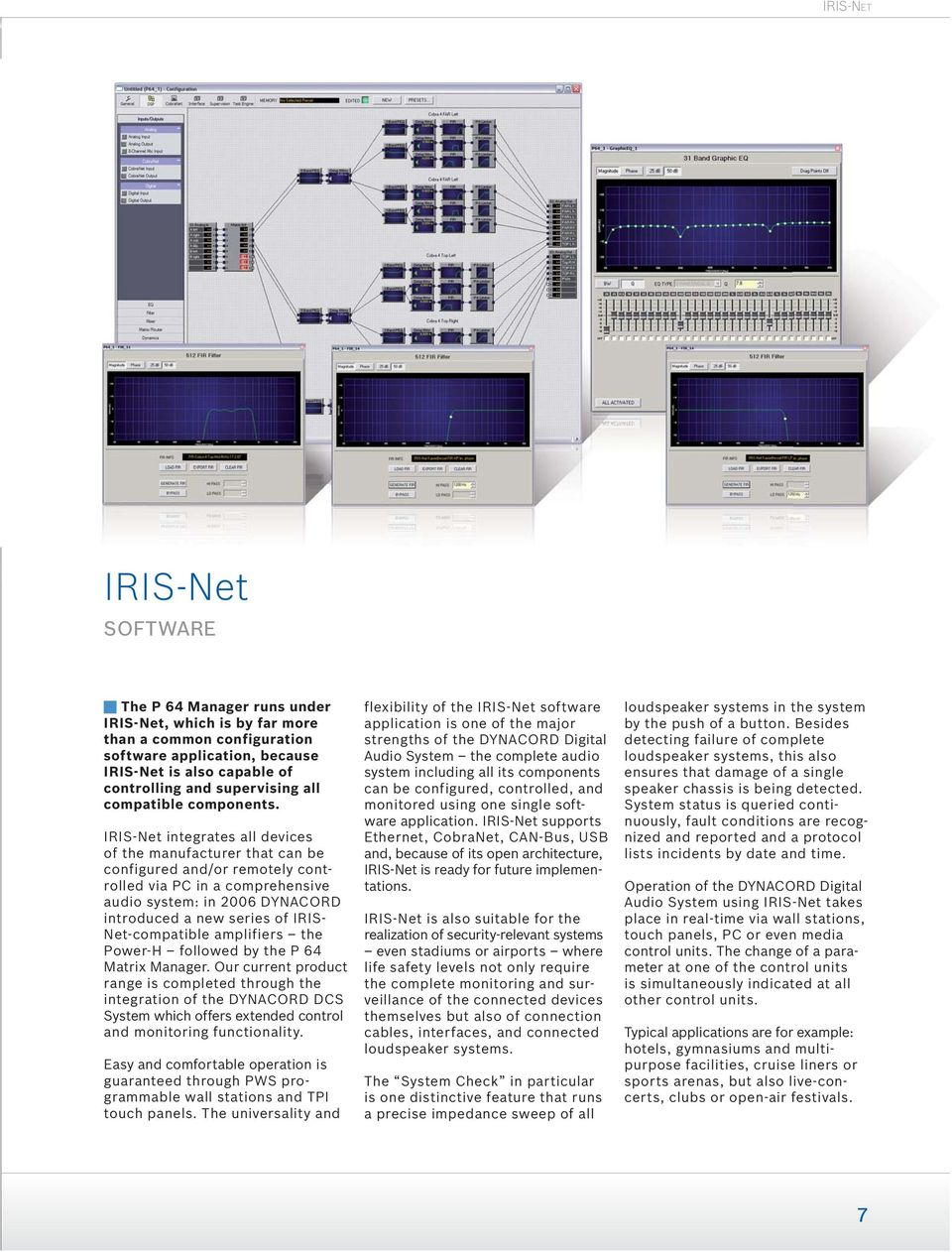 IRISNet integrates all devices of the manufacturer that can be configured and/or remotely controlled via PC in a comprehensive audio system: in 2006 DYNACORD introduced a new series of IRIS