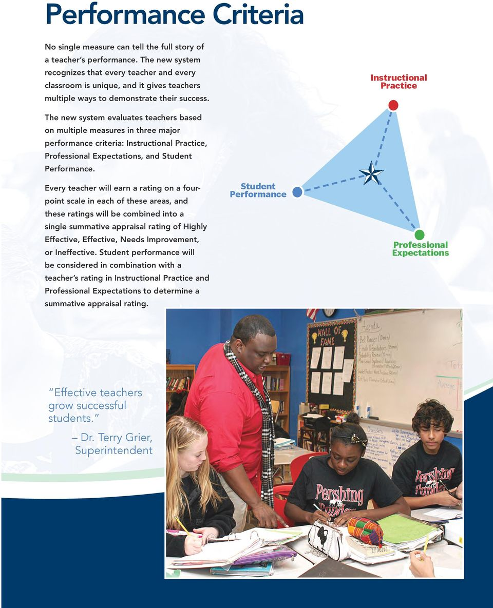 Instructional Practice The new system evaluates teachers based on multiple measures in three major performance criteria: Instructional Practice, Professional Expectations, and Student Performance.
