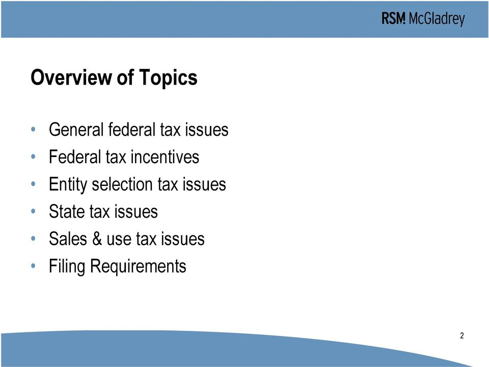 selection tax issues State tax issues