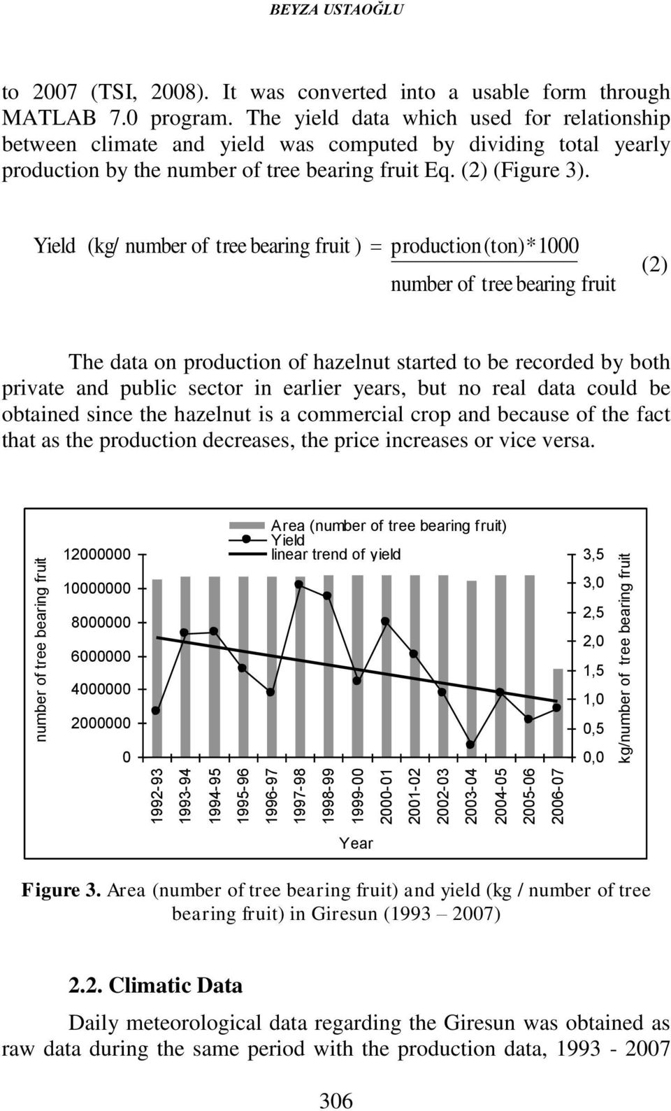 The yield data which used for relationship between climate and yield was computed by dividing total yearly production by the number of tree bearing fruit Eq. (2) (Figure 3).