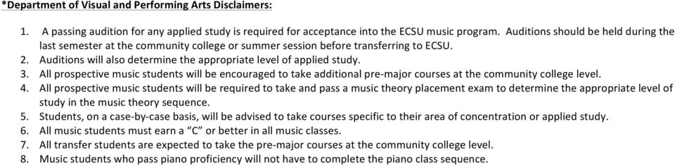 All prospective music students will be encouraged to take additional pre-major courses at the community college level. 4.