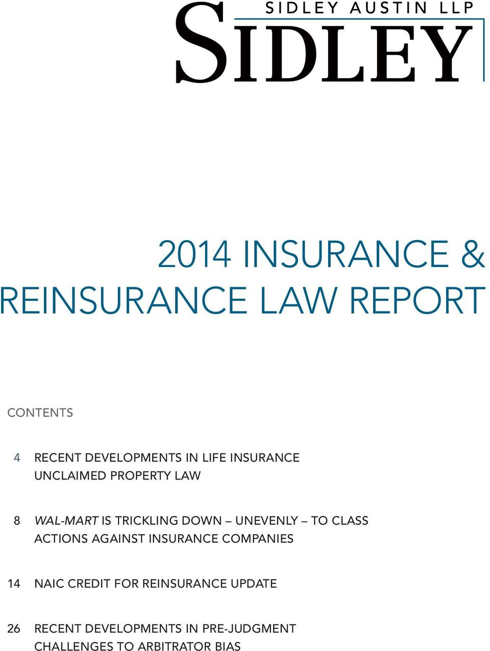TO CLASS ACTIONS AGAINST INSURANCE COMPANIES 14 NAIC CREDIT FOR REINSURANCE