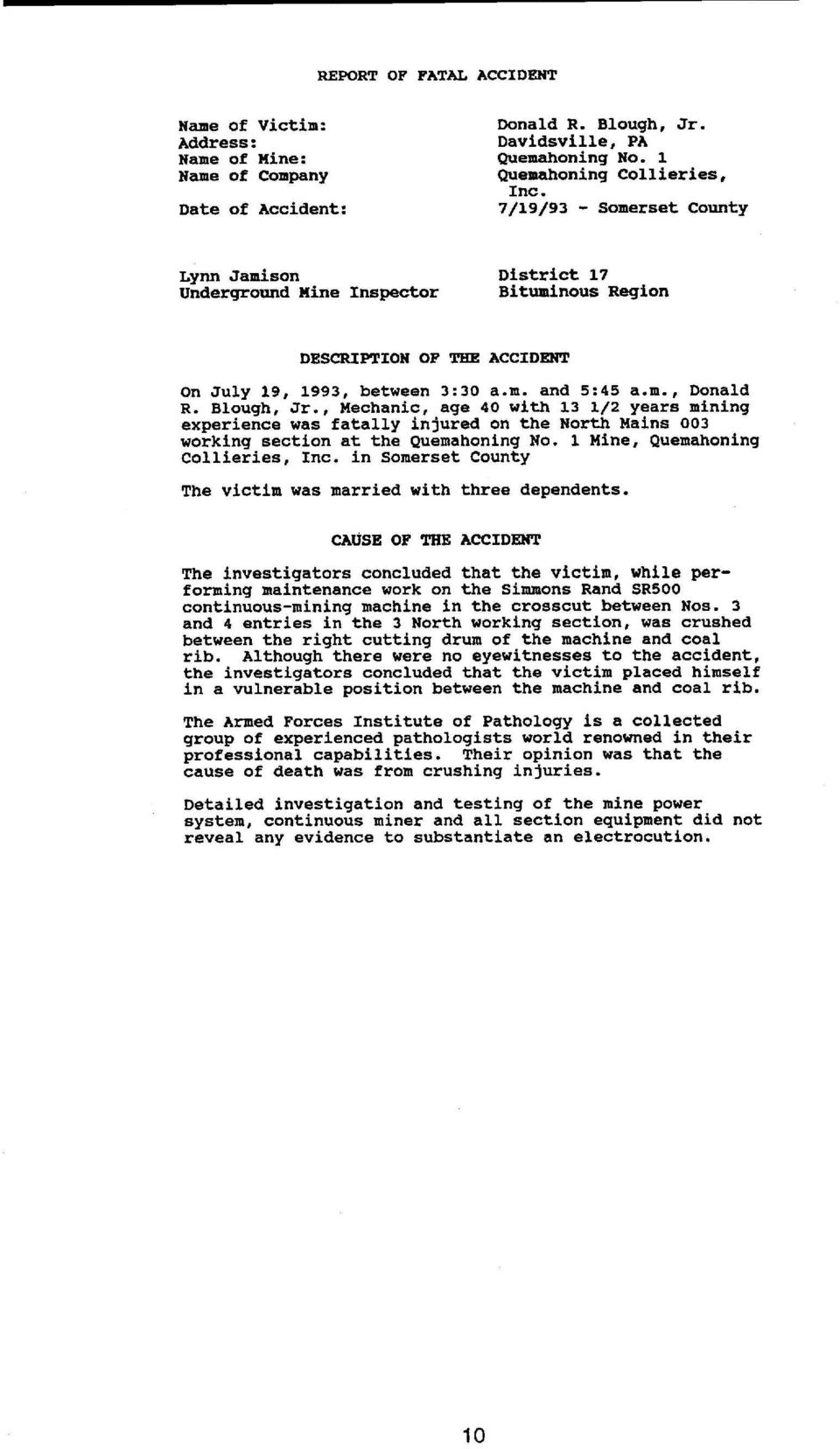 REPORT OF FATAL ACCIDENT DESCRIPTION OF THE ACCIDENT - PDF