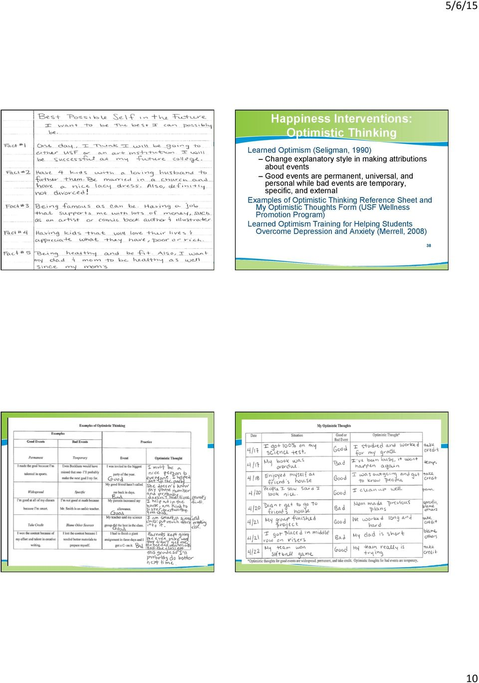 external Examples of Optimistic Thinking Reference Sheet and My Optimistic Thoughts Form (USF Wellness
