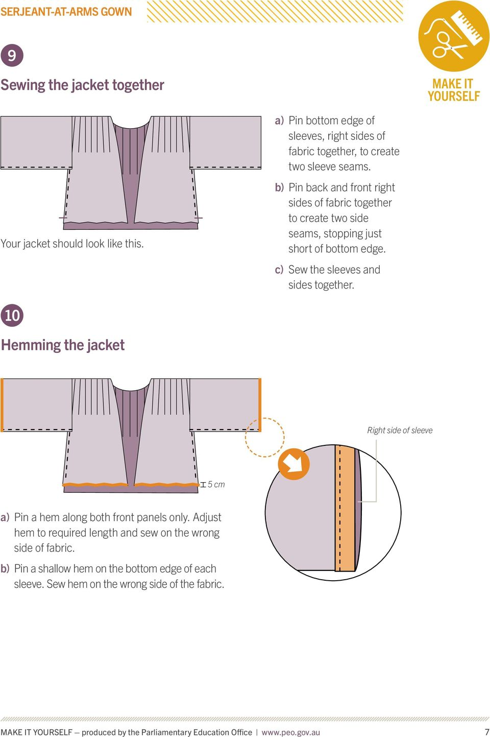 10 Hemming the jacket Right side of sleeve 5 cm a) Pin a hem along both front panels only. Adjust hem to required length and sew on the wrong side of fabric.