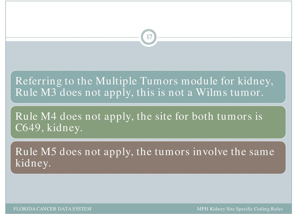 Rule M4 does not apply, the site for both tumors is C649,