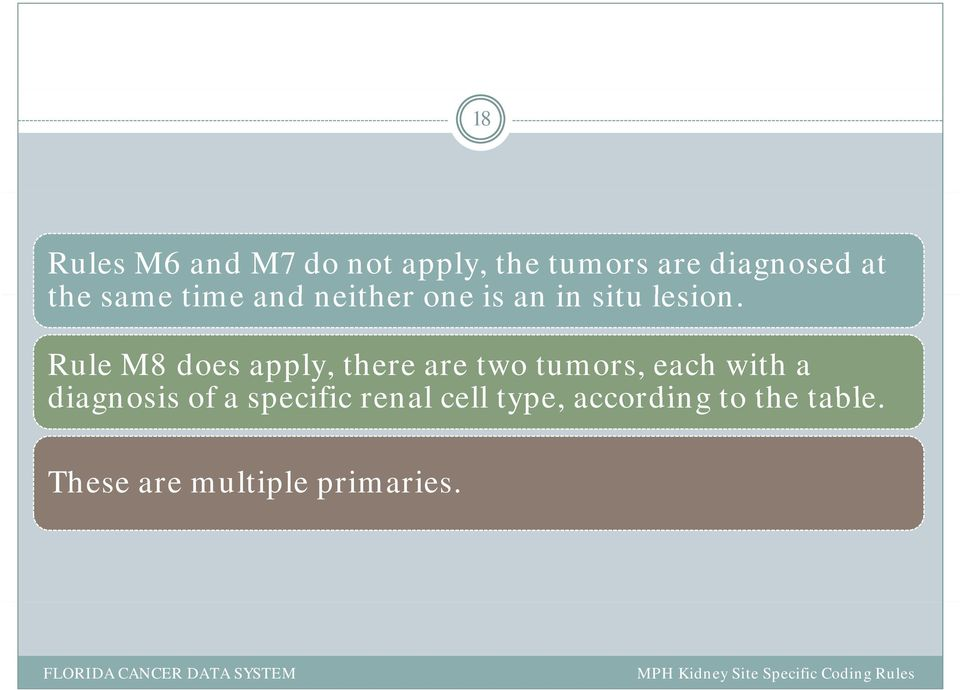 Rule M8 does apply, there are two tumors, each with a diagnosis