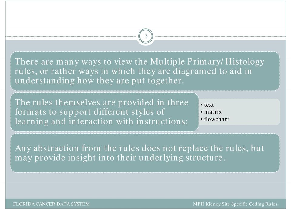 The rules themselves are provided in three formats to support different styles of learning and interaction