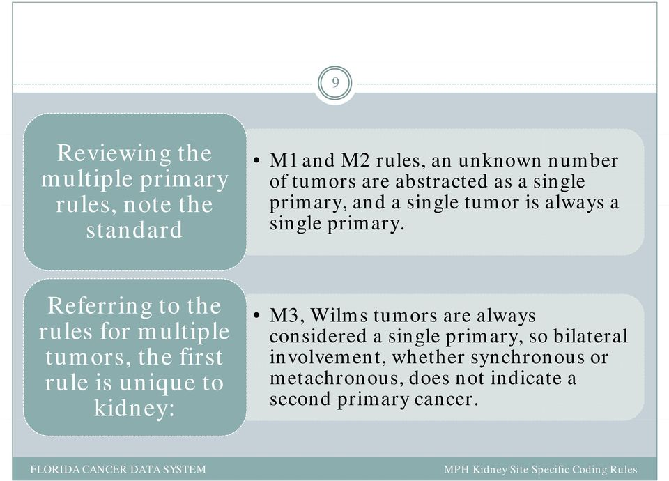 Referring to the rules for multiple tumors, the first involvement, whether synchronous or rule is unique to