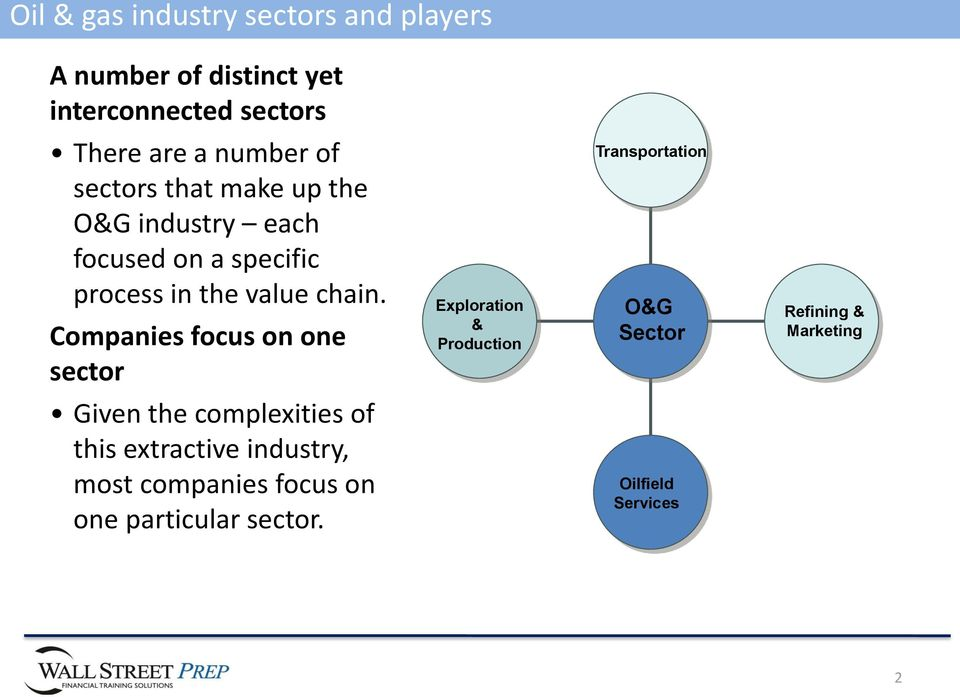 Companies focus on one sector Given the complexities of this extractive industry, most