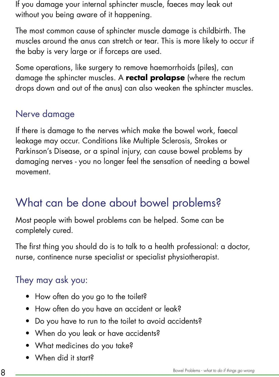 Bowel Problems  what to do if things go wrong  - PDF