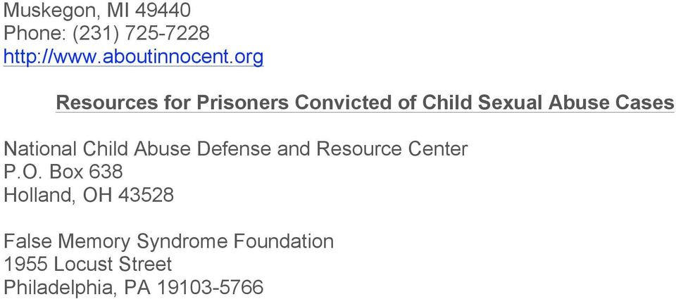National Child Abuse Defense and Resource Center P.O.