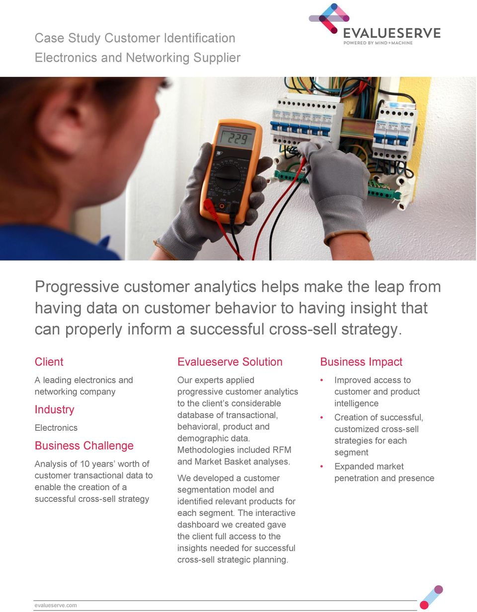 Client A leading electronics and networking company Industry Electronics Analysis of 10 years worth of customer transactional data to enable the creation of a successful cross-sell strategy Our