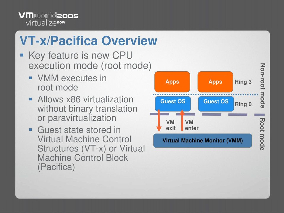 stored in Virtual Machine Control Structures (VT-x) or Virtual Machine Control Block (Pacifica)