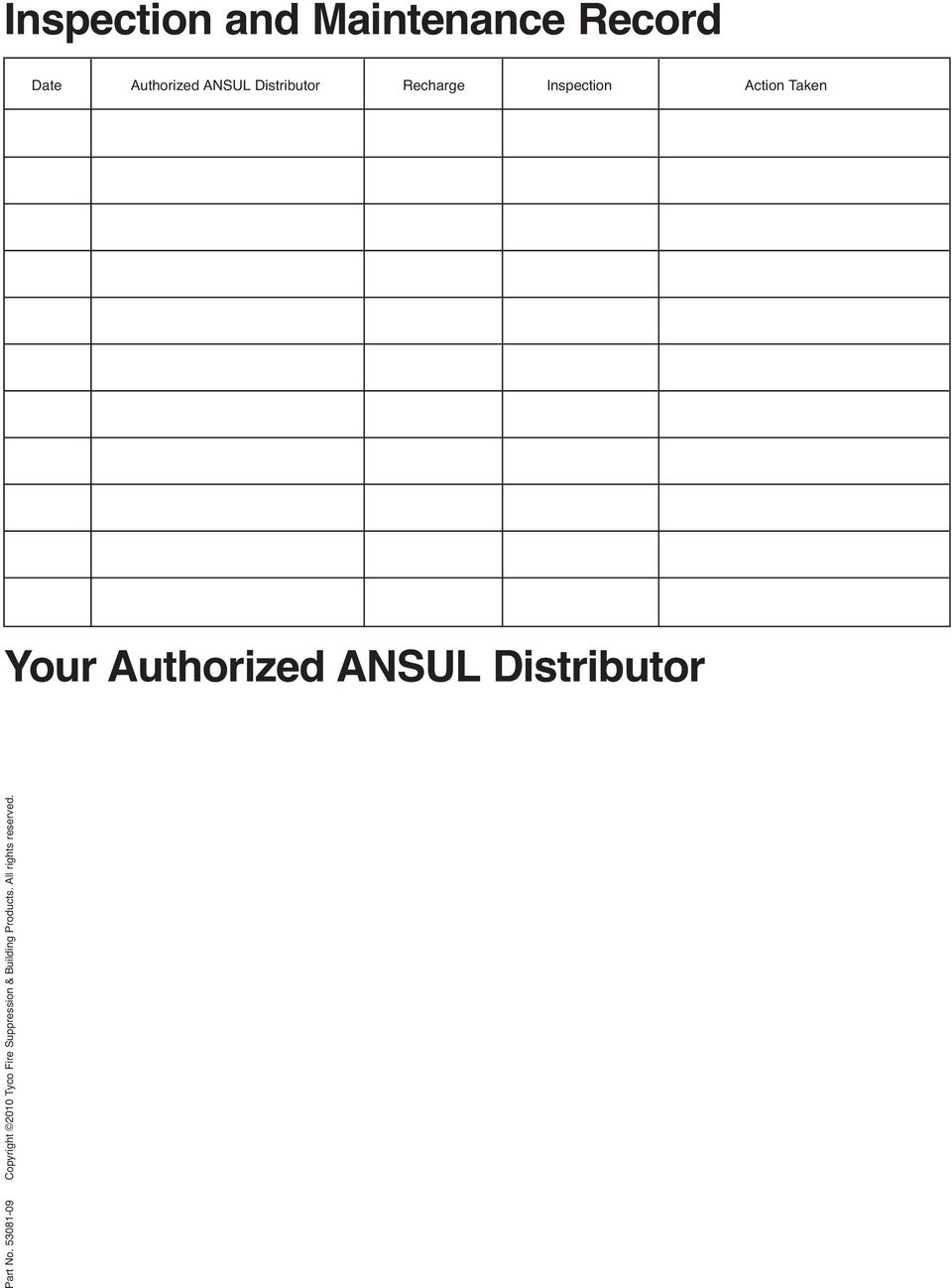 Authorized ANSUL Distributor Part No.