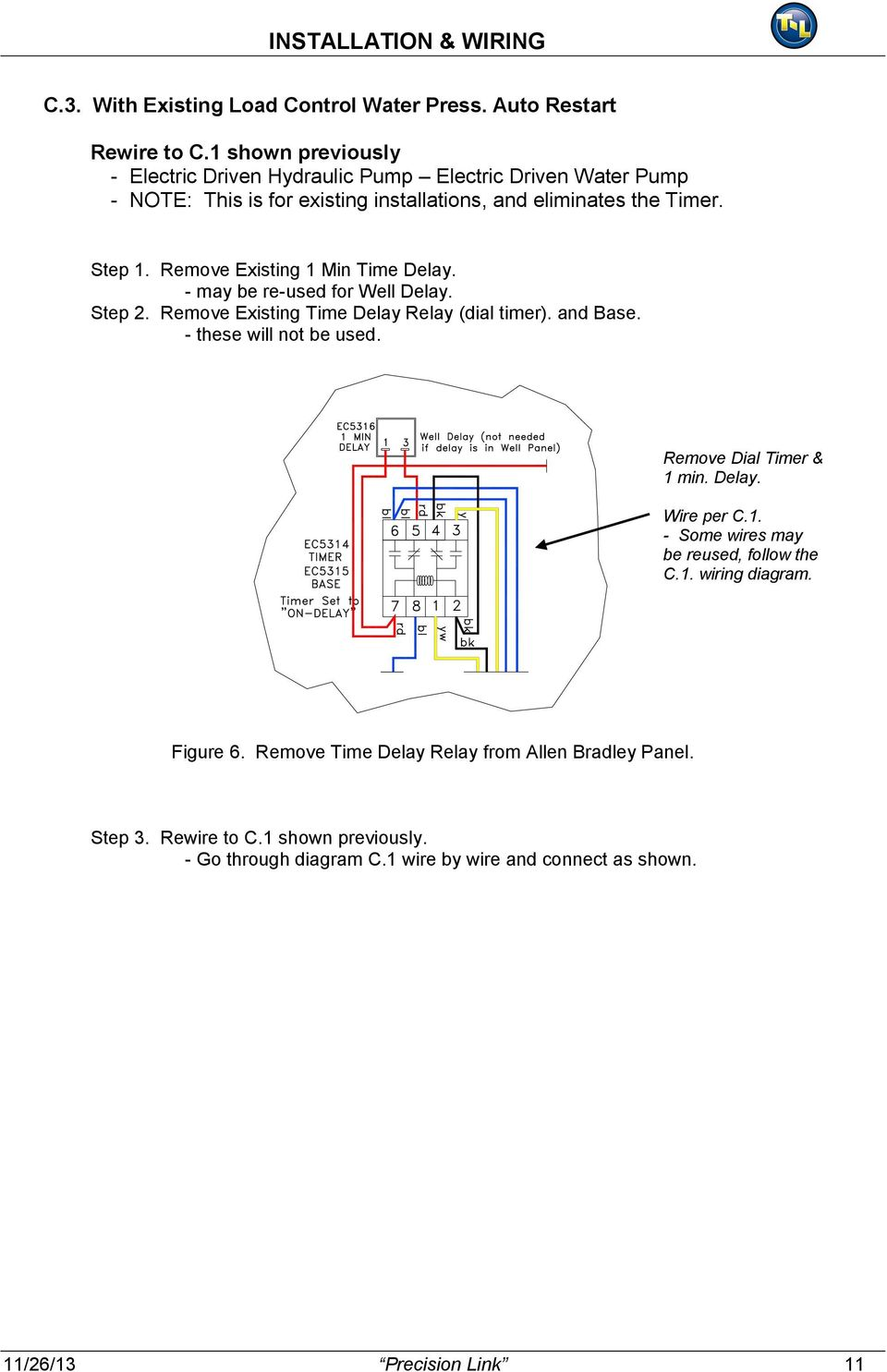 Precision Link System Installation Operation And Troubleshooting Controls Wiring Diagram Remove Existing 1 Min Time Delay May Be Re Used For Well