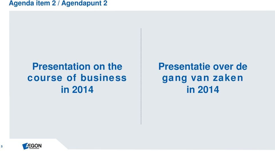 business in 2014 Presentatie