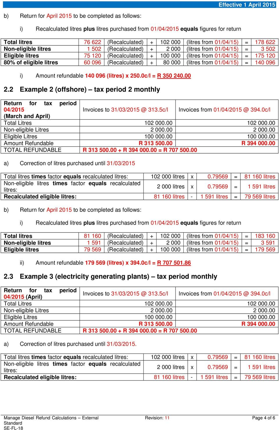 2 Example 2 (offshore) tax period 2 monthly 04/2015 Invoices to 31/03/2015 @ 313.5c/l Invoices from 01/04/2015 @ 394.0c/l (March and April) Amount Refundable R 313 500.00 R 394 000.