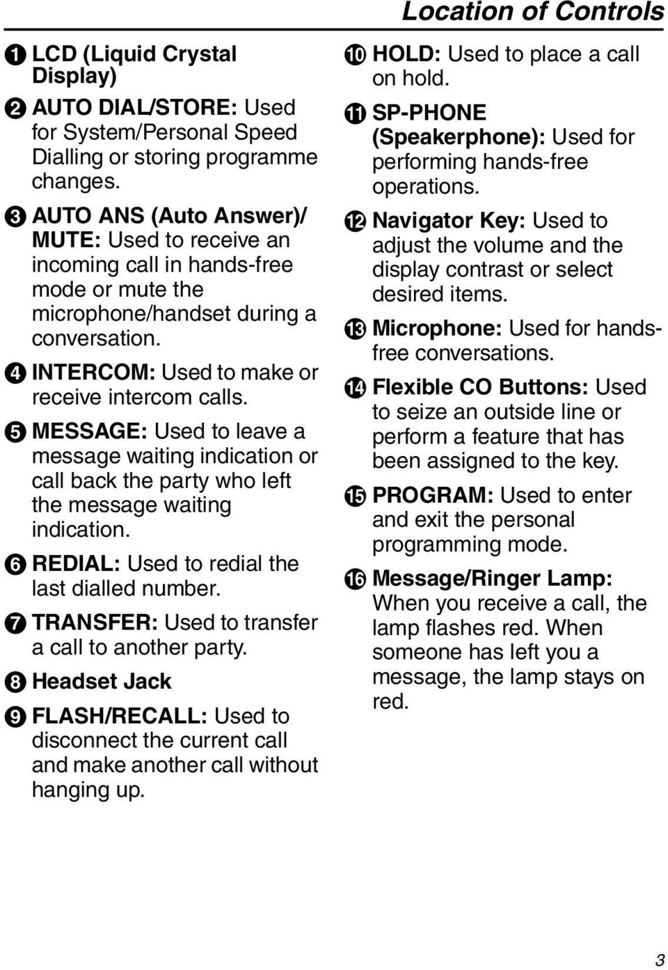 E MESSAGE: Used to leave a message waiting indication or call back the party who left the message waiting indication. F REDIAL: Used to redial the last dialled number.