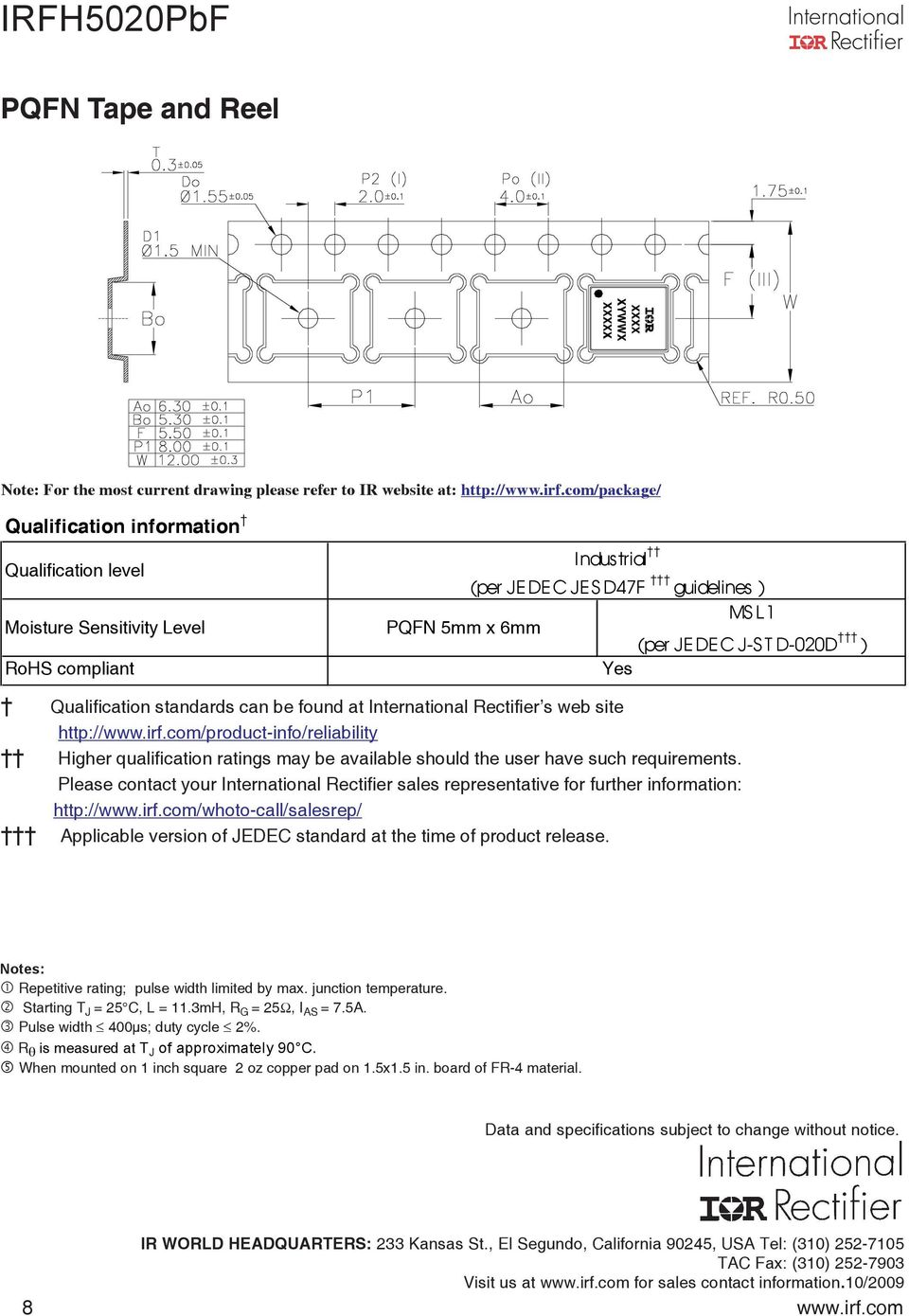 Qualification standards can be found at International Rectifier s web site http://www.irf.