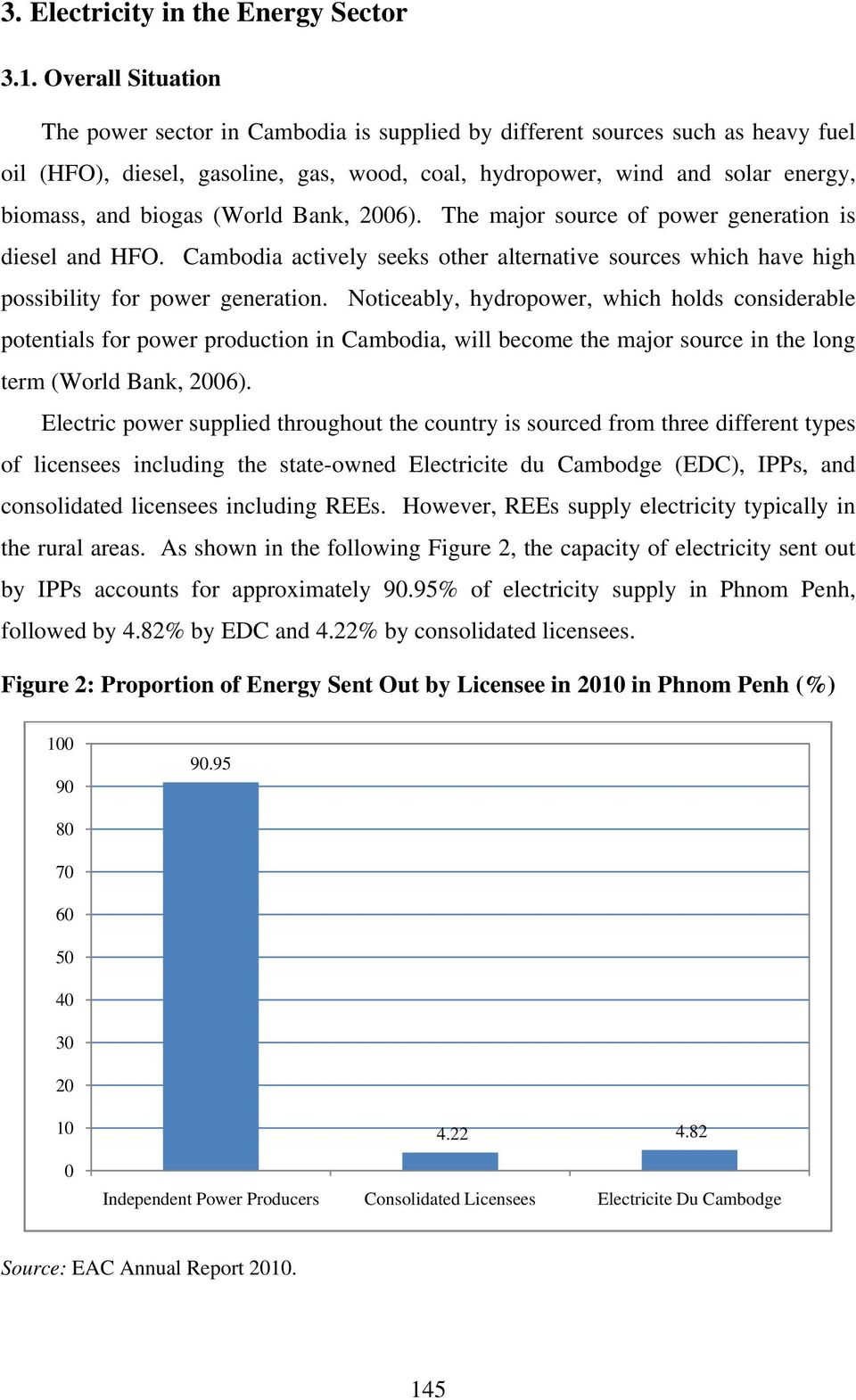 (World Bank, 2006). The major source of power generation is diesel and HFO. Cambodia actively seeks other alternative sources which have high possibility for power generation.