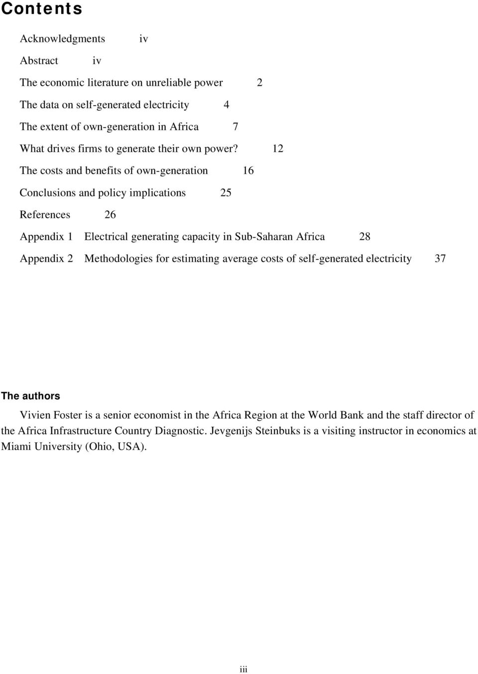 12 The costs and benefits of own-generation 16 Conclusions and policy implications 25 References 26 Appendix 1 Electrical generating capacity in Sub-Saharan Africa 28 Appendix 2