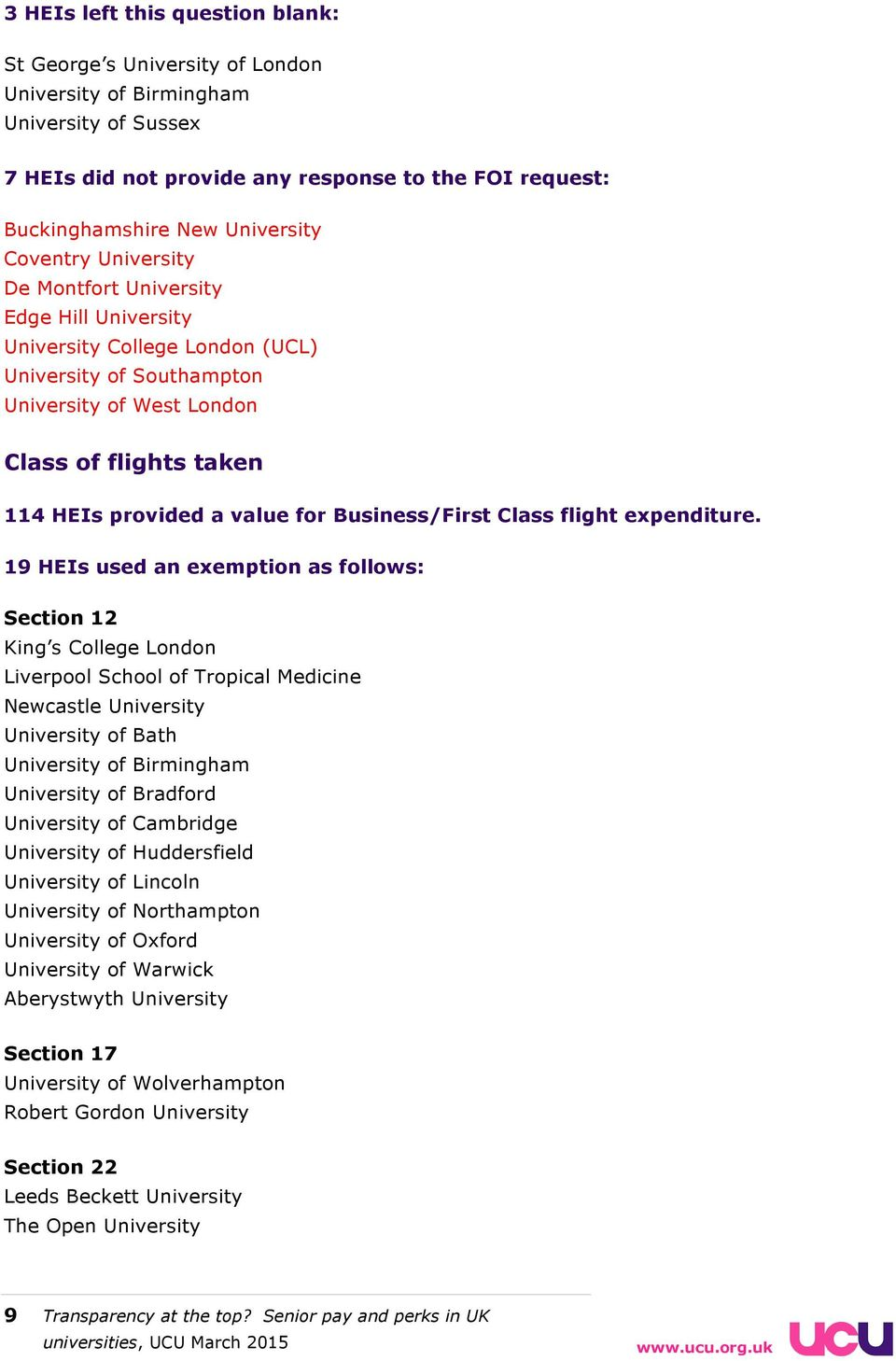 19 HEIs used an exemption as follows: Section 12 King s College London Liverpool School of Tropical Medicine Newcastle of Bath of Birmingham of Bradford of Cambridge of