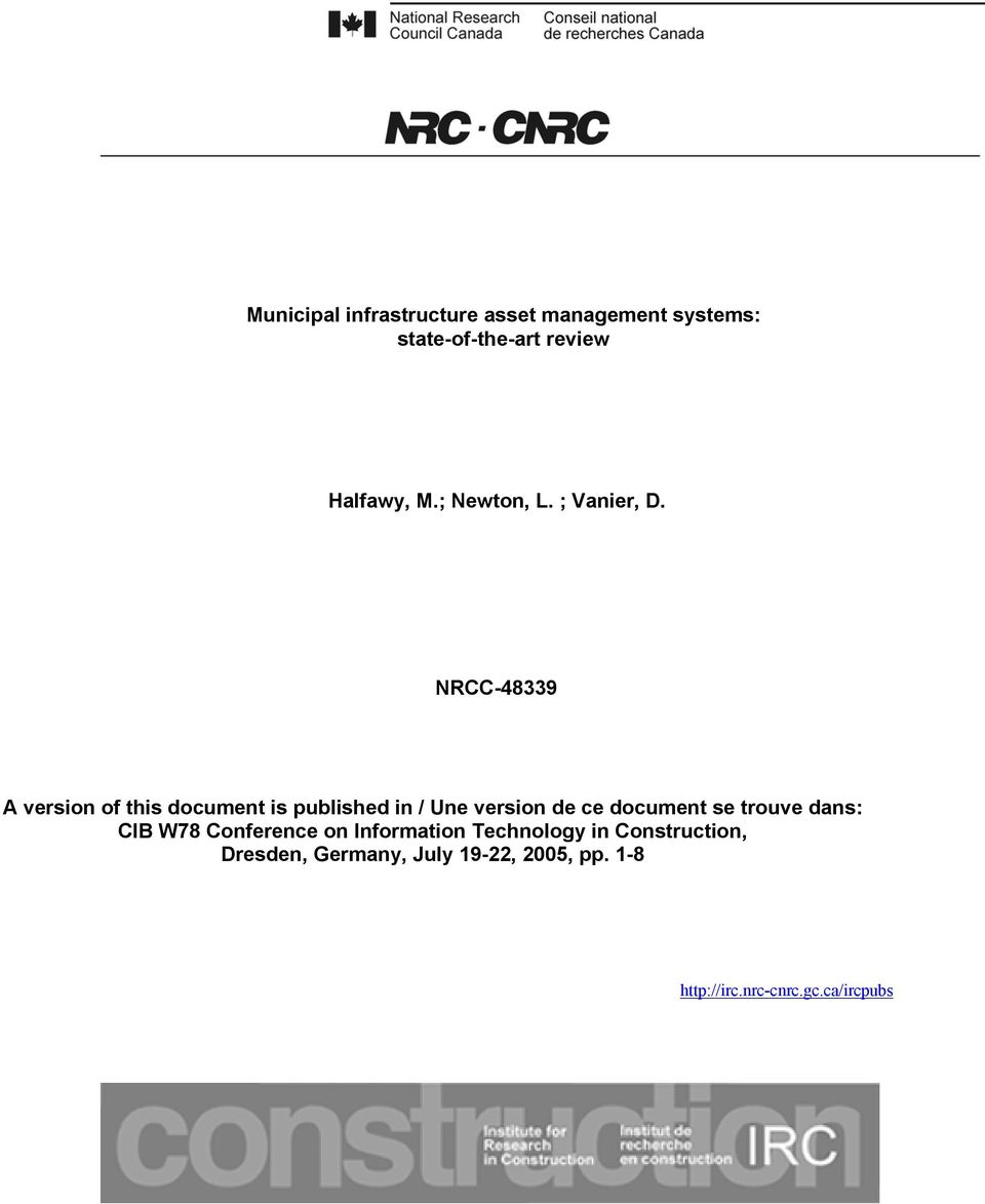 NRCC-48339 A version of this document is published in / Une version de ce document se