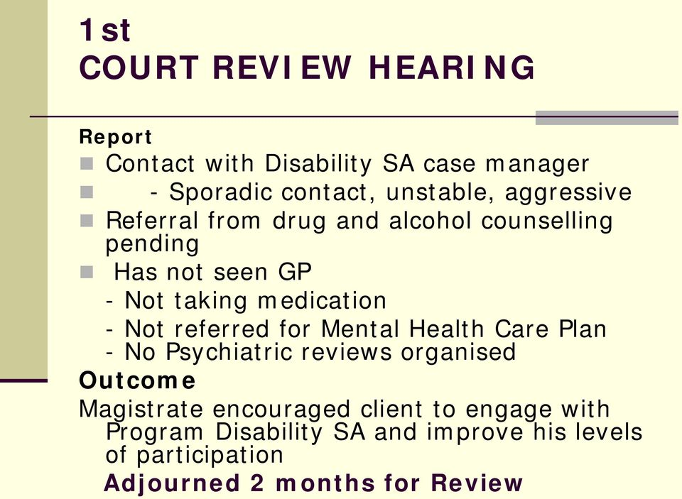 Not referred for Mental Health Care Plan - No Psychiatric reviews organised Outcome Magistrate encouraged