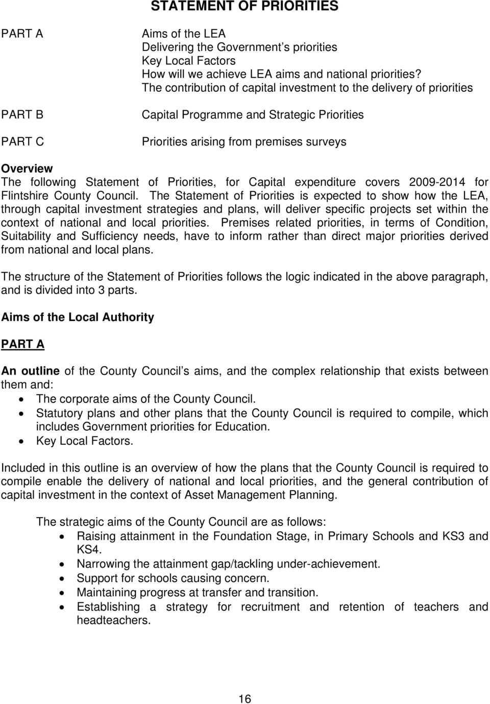 Priorities, for Capital expenditure covers 2009-2014 for Flintshire County Council.