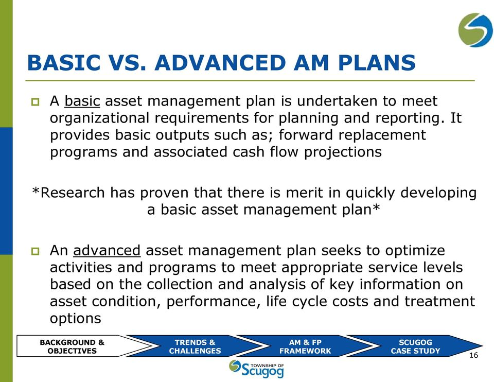 developing a basic asset management plan* An advanced asset management plan seeks to optimize activities and programs to meet appropriate service levels based on