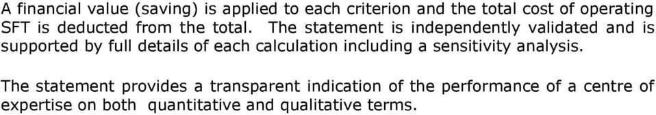 The statement is independently validated and is supported by full details of each calculation