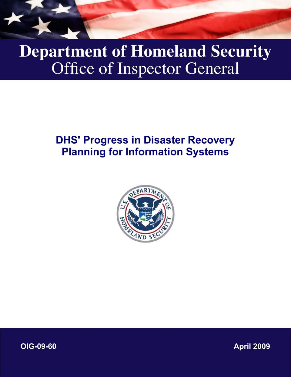 Progress in Disaster Recovery