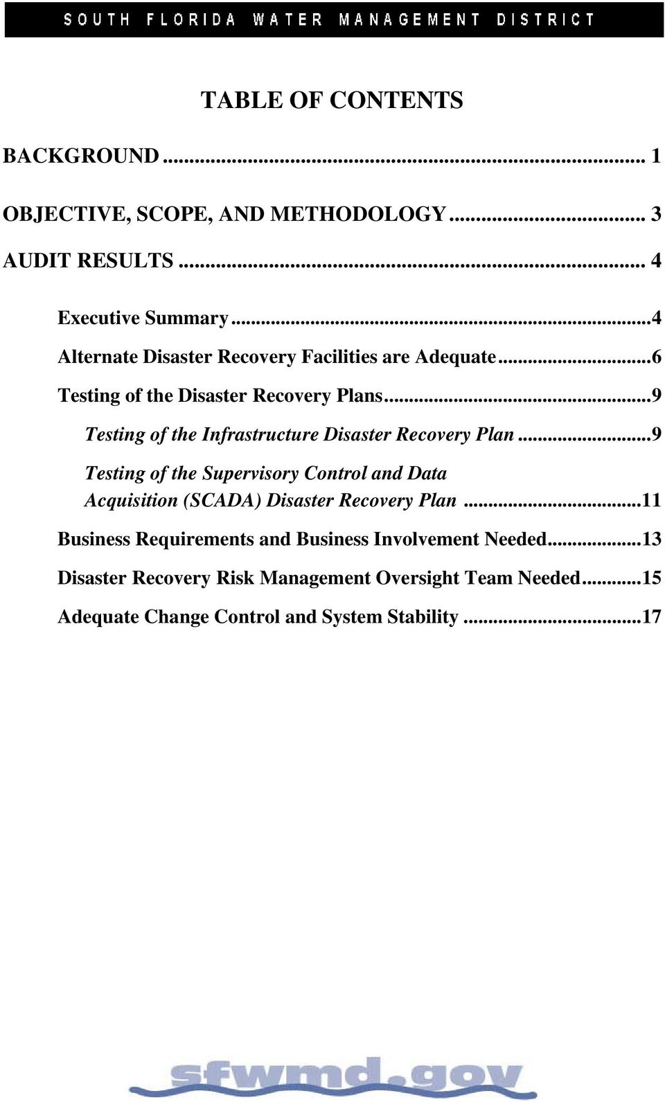 .. 9 Testing of the Infrastructure Disaster Recovery Plan.
