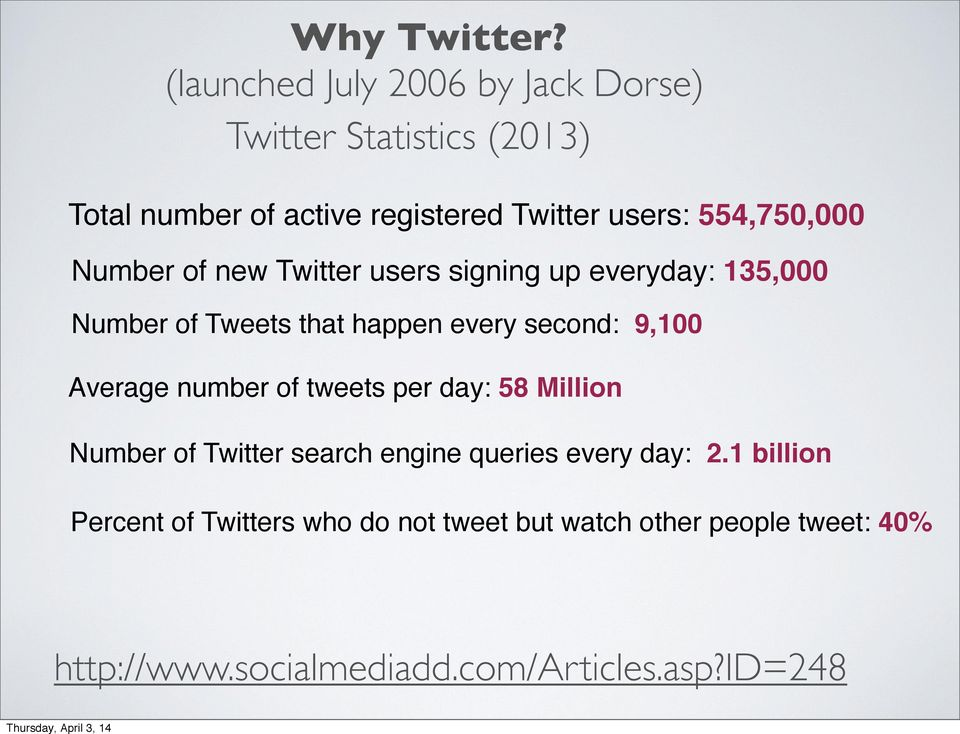 554,750,000 Number of new Twitter users signing up everyday: 135,000 Number of Tweets that happen every second: