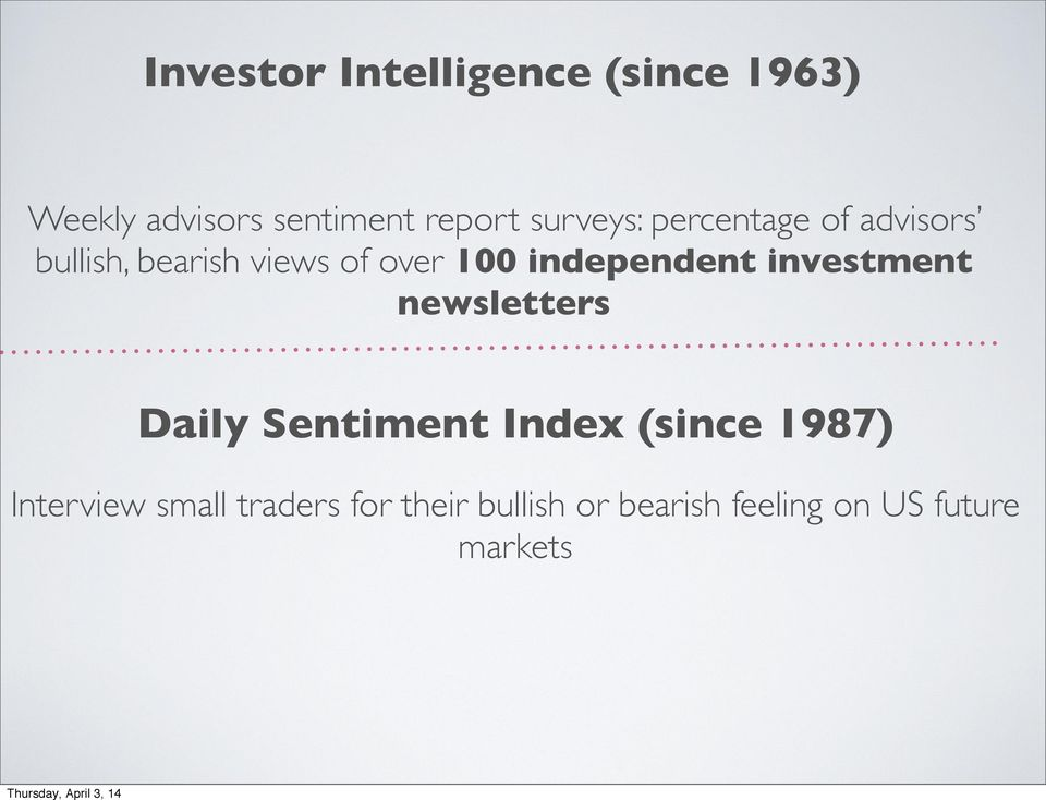 independent investment newsletters Daily Sentiment Index (since 1987)