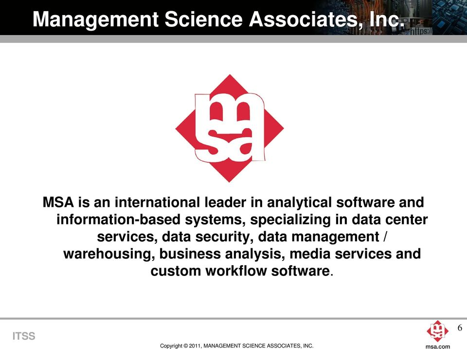 information-based systems, specializing in data center services,