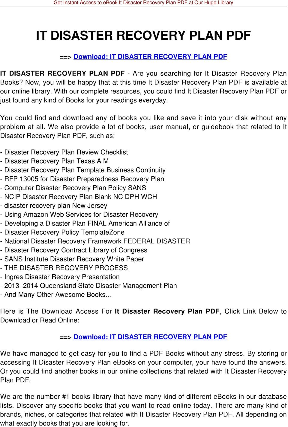 With our complete resources, you could find It Disaster Recovery Plan PDF or just found any kind of Books for your readings everyday.
