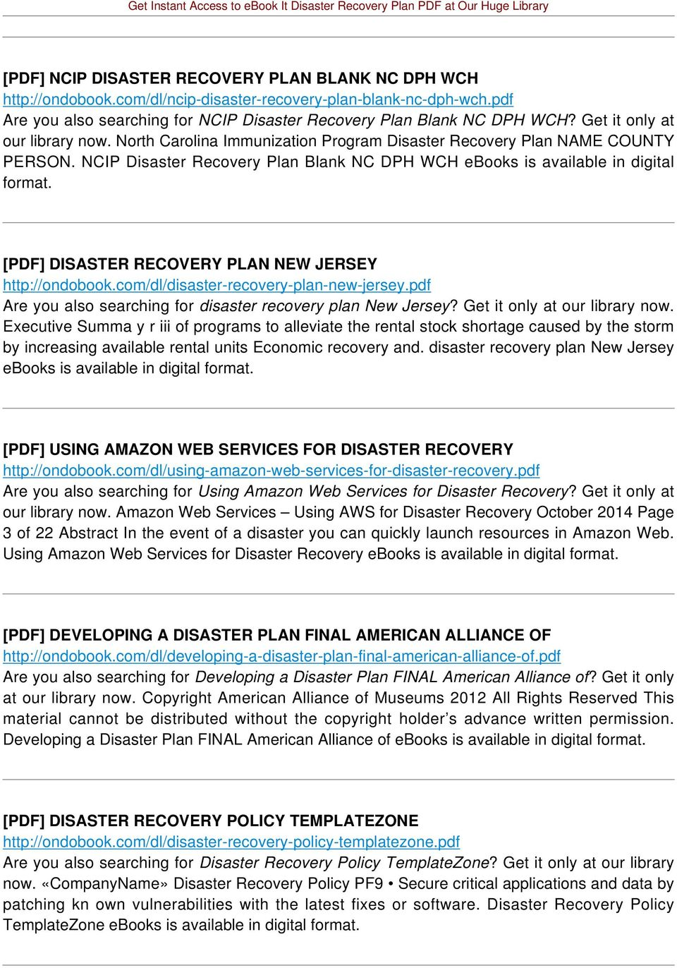 [PDF] DISASTER RECOVERY PLAN NEW JERSEY http://ondobook.com/dl/disaster-recovery-plan-new-jersey.pdf Are you also searching for disaster recovery plan New Jersey? Get it only at our library now.