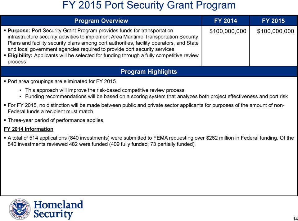 Eligibility: Applicants will be selected for funding through a fully competitive review process Program Highlights $100,000,000 $100,000,000 Port area groupings are eliminated for FY 2015.
