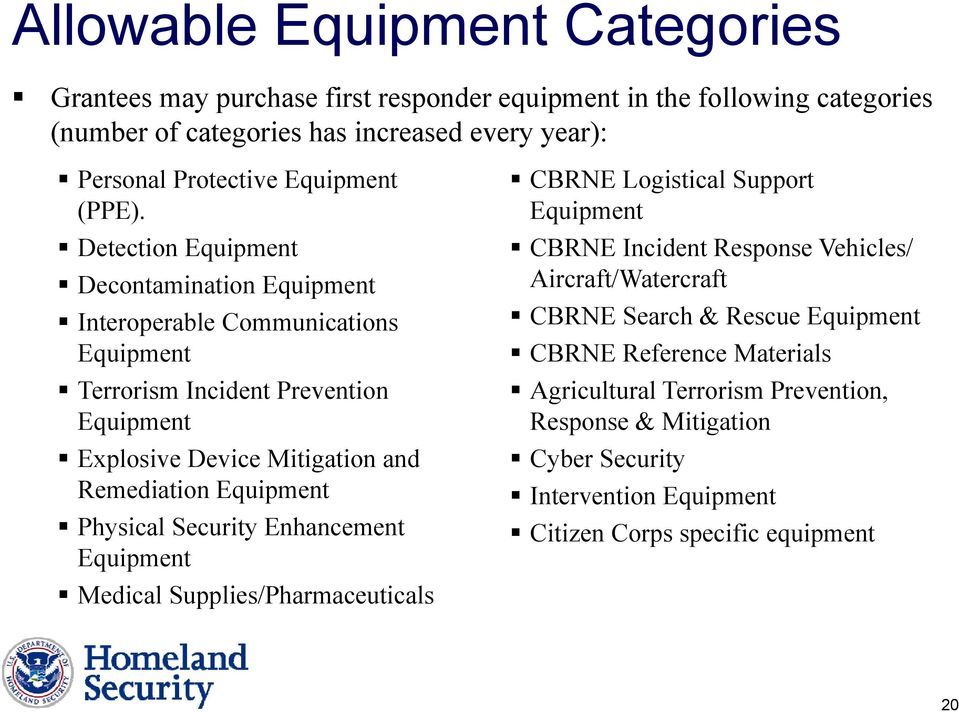 Detection Equipment Decontamination Equipment Interoperable Communications Equipment Terrorism Incident Prevention Equipment Explosive Device Mitigation and Remediation Equipment
