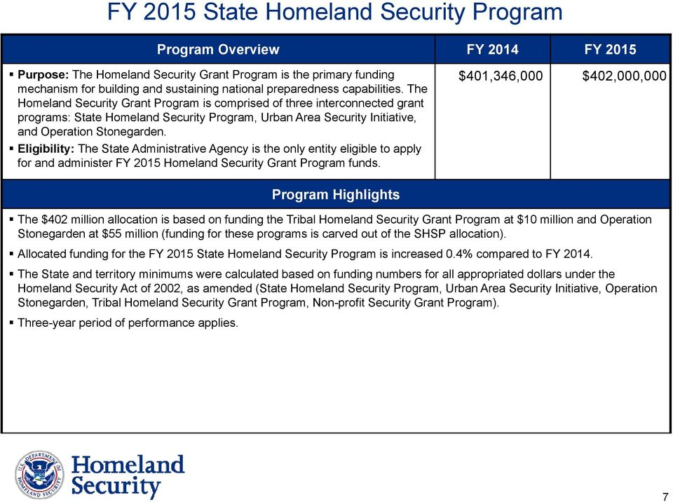 The Homeland Security Grant Program is comprised of three interconnected grant programs: State Homeland Security Program, Urban Area Security Initiative, and Operation Stonegarden.