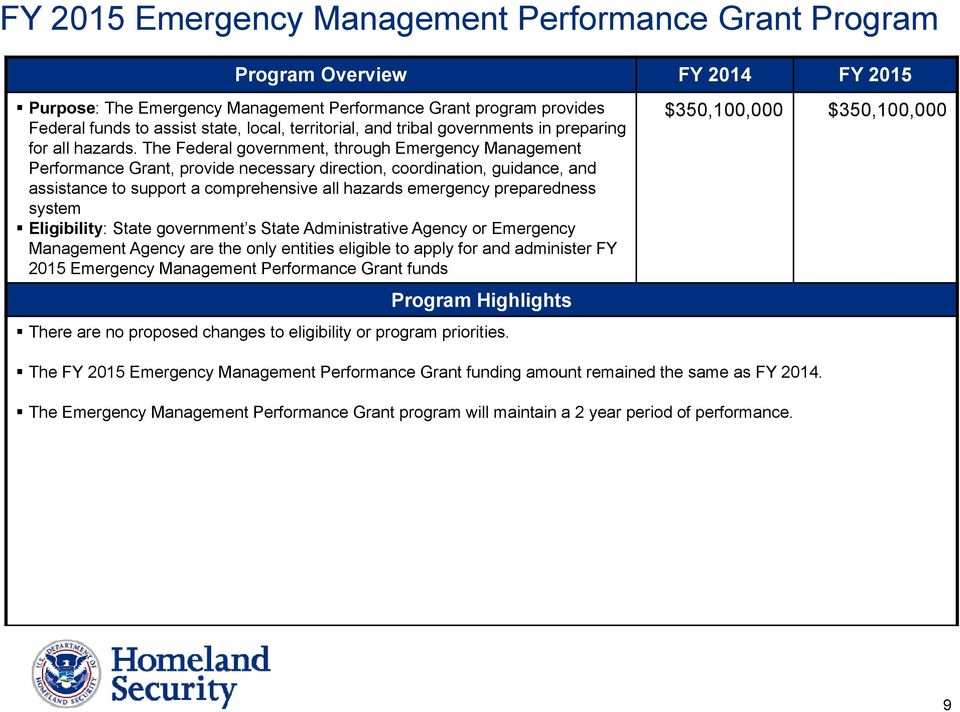 The Federal government, through Emergency Management Performance Grant, provide necessary direction, coordination, guidance, and assistance to support a comprehensive all hazards emergency