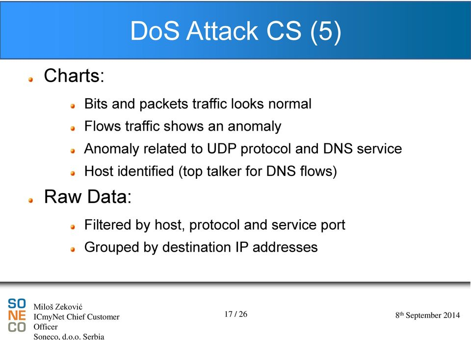 service Host identified (top talker for DNS flows) Raw Data: Filtered