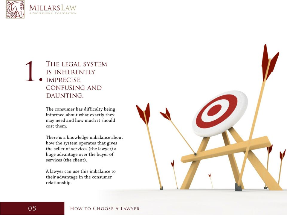 There is a knowledge imbalance about how the system operates that gives the seller of services (the lawyer) a