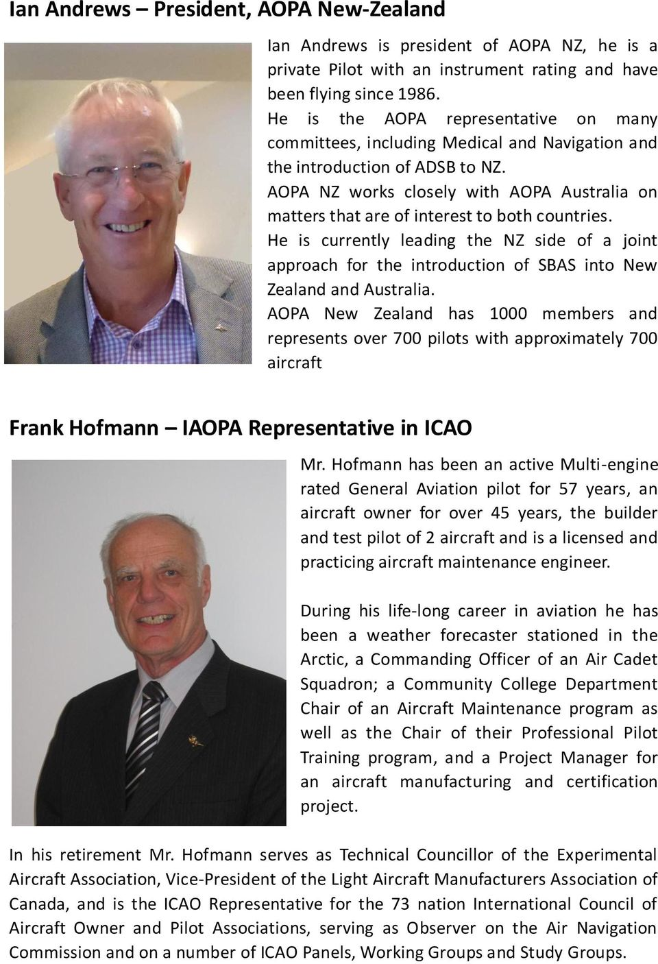 AOPA NZ works closely with AOPA Australia on matters that are of interest to both countries.