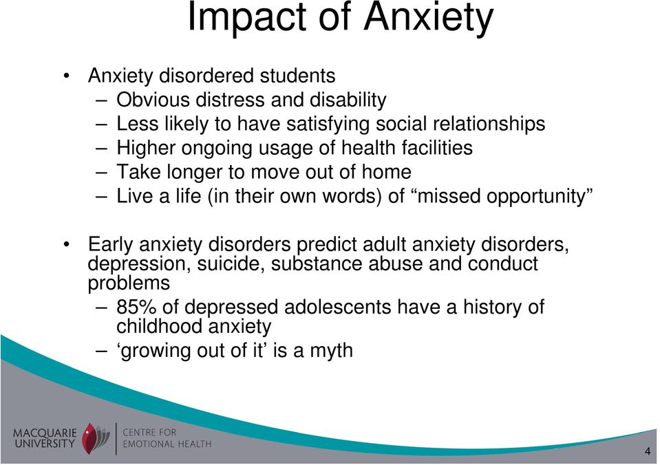 words) of missed opportunity Early anxiety disorders predict adult anxiety disorders, depression, suicide, substance