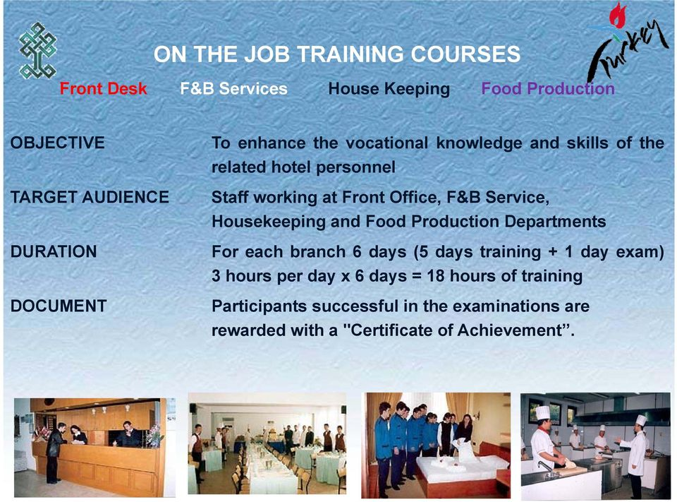 F&B Service, Housekeeping and Food Production Departments For each branch 6 days (5 days training + 1 day exam) 3 hours