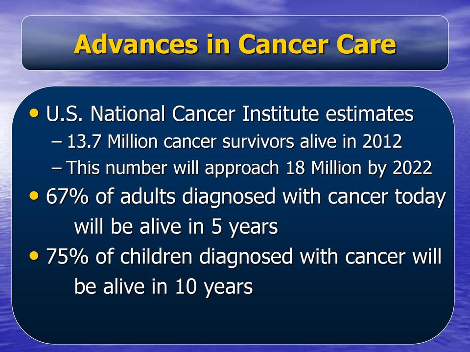 Million by 2022 67% of adults diagnosed with cancer today will be