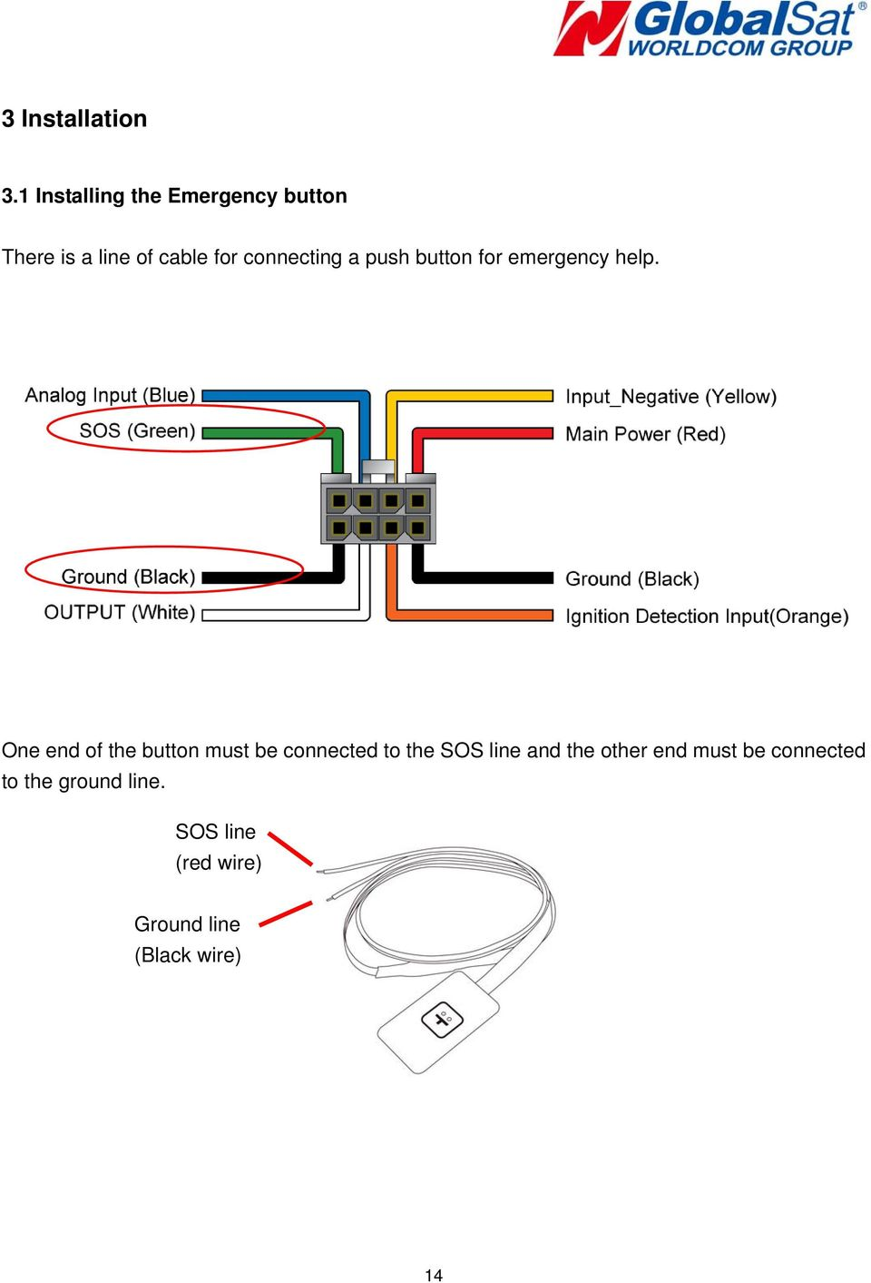 connecting a push button for emergency help.